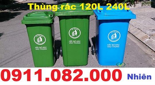 Cung cấp thùng rác 120 nhựa hdpe,  composite giá rẻ- 0911.082.000 Nhiên